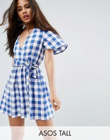 Asos Tall Beach Wrap Dress In Gingham