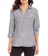 Reba Hi-Lo Denim Button Shirt with Shoulder Stud Detail