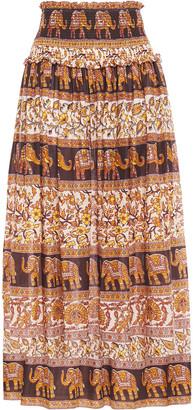 Zimmermann Shirred Printed Cotton Midi Skirt