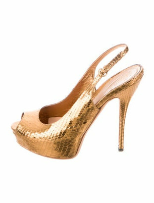 Gucci Snakeskin Slingback Pumps Gold