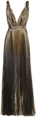 V Neck Pleated Silk Blend Long Dress