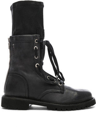 RtA Leather Combat Boots in Blackout | FWRD