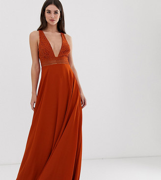 Asos Tall DESIGN Tall sleeveless maxi dress with lace bodice-White