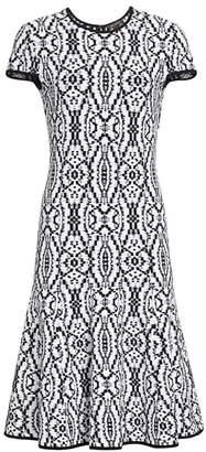 St. John Ikat Jacquard Flare Midi Dress