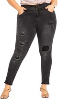 Thumbnail for your product : City Chic Apple Patched Ankle Skinny Jeans