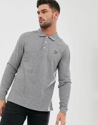 Lyle & Scott logo pique long sleeve polo in grey