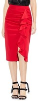 Vince Camuto Women's Front Ruffle Crepe Ponte Pencil Skirt