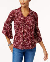 Style&Co. Style & Co Printed Bell-Sleeve Top, Created for Macy's