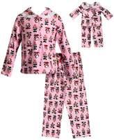Dollie & Me Girls 4-14 Panda Bear Top & Bottoms Pajama Set