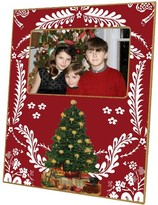 The Well Appointed House Christmas Tree on Red Provencial Print Decoupage Photo Frame-Can Be Personalized