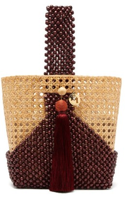 Rosantica Budd Wicker And Beaded-wood Bucket Bag - Womens - Burgundy Multi