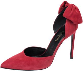 Saint Laurent Paris Red Suede Classic Paris Skinny D'orsay Pointed Toe Pumps Size 37.5