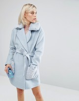 Lost Ink Oversized Smart Teddy Coat With Faux Fur Collar