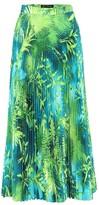 Versace Jungle-print plisse midi skirt