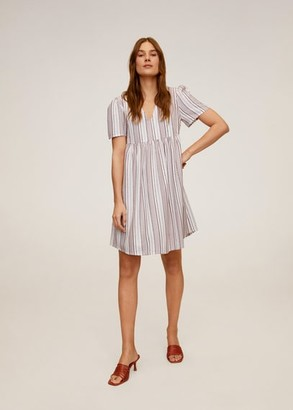 MANGO Striped short dress ecru - 2 - Women