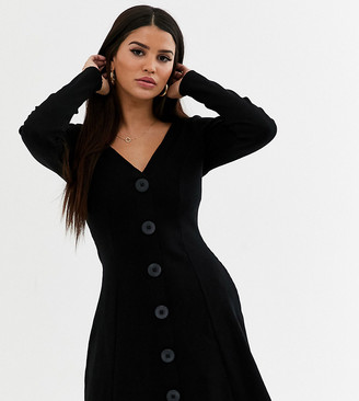 Asos DESIGN Petite long sleeve rib tea dress in black