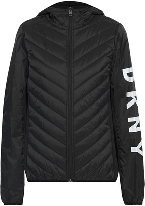 DKNY Fleece-paneled Logo-print Quilted Shell Hooded Jacket