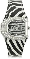 Just Cavalli Logo Jc 2H Silver Dial Black Strap Women's Watch