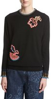 Peter Pilotto Chenille Sweater with Floral Appliqué, Black