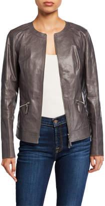 Lafayette 148 New York Everly Zip-Front Glazed Weightless Lambskin Leather Jacket