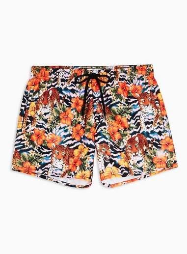 Topman Mens Multi Leopard Floral Print Swim Shorts