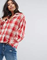 PrettyLittleThing Check Shirt With Tie Cuff Detail