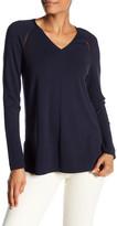 Lafayette 148 New York Sheer Detail V-Neck Sweater