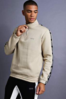 boohoo MAN Funnel Neck Sweater With Tape Detail