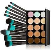 MagiDeal 15-Color Camouflage Concealer Face Cream Makeup Palette + 10Pcs Cosmetic Brushes Set