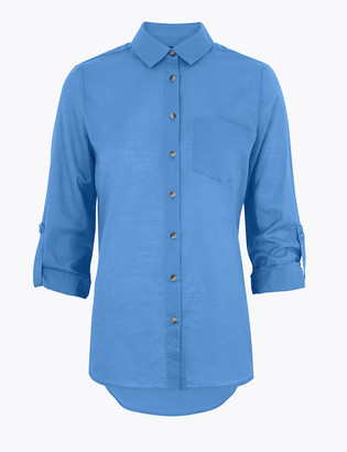 Marks and Spencer Pure Cotton Relaxed Long Sleeve Shirt