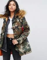Alpha Industries Camo Polar Parka Jacket with Faux Fur Hood