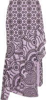 Topshop Cleary Asymmetric Broderie Anglaise Cotton Midi Skirt - Lilac