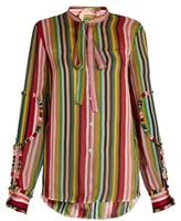 No.21 NO. 21 Striped silk-chiffon blouse