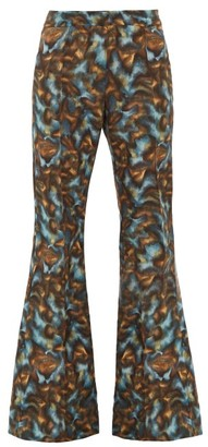 Raey Abstract-print Twill Slim-leg Flared Trousers - Womens - Navy Print