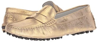 Massimo Matteo Brushed Metallic Penny Driver (Gold Metallic) Women's Slip on Shoes