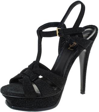 Saint Laurent Black Suede Tribute Platform Ankle Strap Sandals Size 38.5