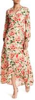 Bobeau Long Sleeve Print Maxi Dress