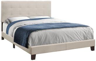 Monarch Specialties Contemporary Upholstered Bed, Beige, Queen, Material: Linen