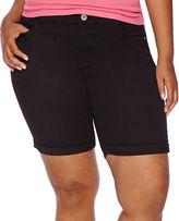 Arizona Roll-Cuff Denim Bermuda Shorts - Juniors Plus