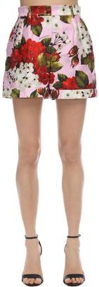 Dolce & Gabbana Geranium Print High Waist Poplin Shorts