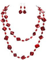 "Ami Extra Long Single Line Iridescent Red Shell Segment Layerable Necklace, Claspless 54"" w/ Dangle Earrings"