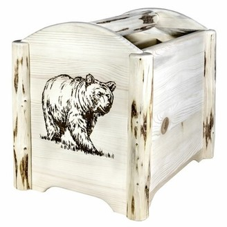 Millwood Pines Sigmund Laser Engraved Magazine Rack Color: Clear Lacquer Finish