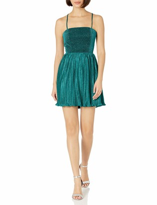 Minuet Women's Metallic Glitter Cocktail Dress with Pleated Skirt