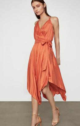 BCBGMAXAZRIA Dotted Satin Wrap Dress