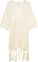 Caravana - Olympia Fringed Basketweave Cotton Wrap Dress - Cream