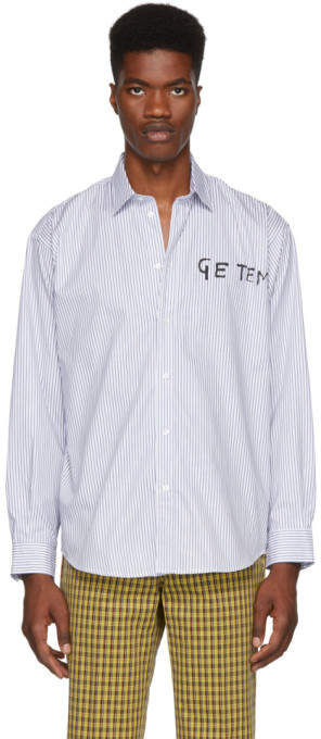 MSGM White and Blue Striped GE TEM Shirt
