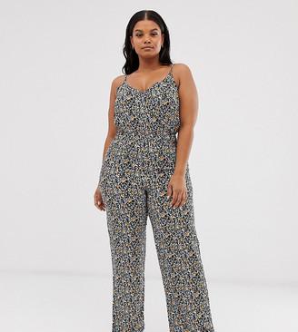Vero Moda Curve cami jumpsuit in ditsy floral-Multi