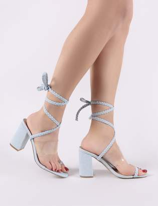 Public Desire Mia Lace Up Block Heeled Sandals in Lightwash Denim