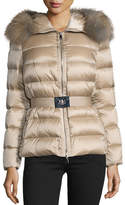 Moncler Tatie Hooded Fur-Trim Puffer Jacket