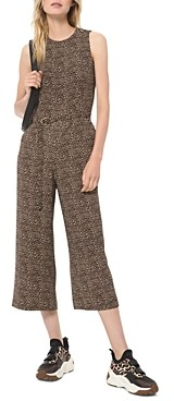 MICHAEL Michael Kors Cropped Belted Animal Print Jumpsuit